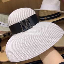 ladies dome hat style Promo Codes - 01903-shi 2019 new summer M Letter Sparkling Water Drill Hepburn style big brim lady holiday bucket cap women leisure hat