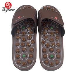Zapatillas de piedra online-Venta al por mayor Jade Stone Acupuntura Acupuntura Activación Pies Imán Rotaing Masajeador de pies Zapatillas de interior Shiatsu Sandalias