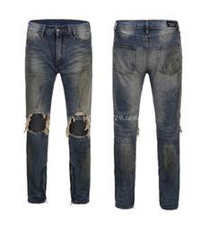 lavage à l'encre Promotion Mode Hommes Designer Jeans Genou Déchiré Détresse Longues Denim Jeans Lavé Fermeture Éclair Slim Pantalon Élastique De Mode Éclaboussures D'encre Sale Pantalon