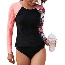 SABOLAY rashguard uv shirt swimming suit women long sleeve