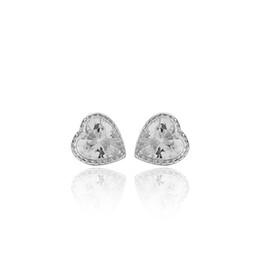 Gotas de oreja de diamante online-Pendientes de plata 925 Ear Ear Nail Ear Earline platino plateado Corazón Diamante Circón Lujo antialérgico Envío libre al por mayor