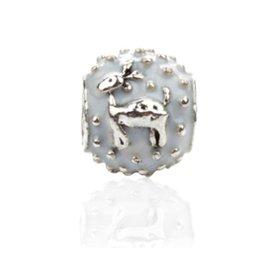 Charme de veado branco on-line-Fit Pandora Charm Bracelet Europeu Encantos de Prata Contas Esmalte Natal Veados Brancos DIY Cadeia de Cobra Para As Mulheres Pulseira Colar de Jóias Xmas