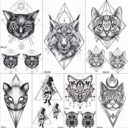 2020 tatuaggi del corpo piccolo OMMGO geometrica Cat Linea Temporary Tattoos autoadesivo del diamante nero Piccolo personalizzato tatuaggio del fai da te Body Art polso falsi Tatuaggi Donna Uomo sconti tatuaggi del corpo piccolo