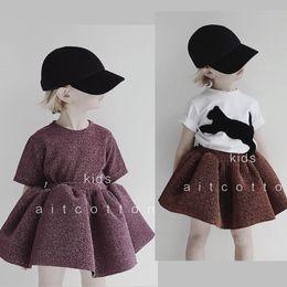 Girls Clothing Sets 2019 New Summer Belgium Brand Baby Girl Boys Shining Short  Sleeve T-shirt Cat Fur Tops Tutu Skirts Dress 8c5c940d9064