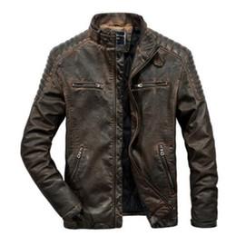 Männer braunes leder parka online-Echte echte Lederjacke Männer für Motorräder Vintage braun schwarz Parka schlank männlich Winter warm lässig Moto Biker Jacke Mantel