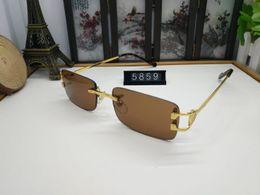 óculos transparentes de grandes dimensões Desconto 2018 Brand Designer Oversized Óculos De Sol Sem Aro para Homens e Mulheres Estilo Único Lente Clara Óculos De Sol Armação De Metal chifre de búfalo óculos