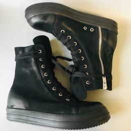 19SS WAX SUEDE Entrenador de zapatos de cuero hip hop Cuero genuino exclusivo Boots rock street completo negro zapatos retro desde fabricantes