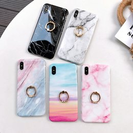 cellphone ring case Coupons - Marble CellPhone Case Soft TPU Back Cover for iPhone XS Max XR XS X 8 7 6s Plus with Finger Ring Stand
