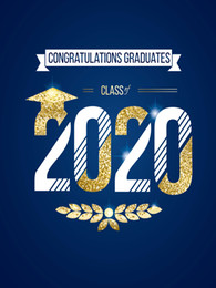Blauer hintergrund fotografie online-Congratulations Graduates Class of 2020 Vinyl Photography Backdrops Gold and Blue Photo Booth Backgrounds for Students Studio Props