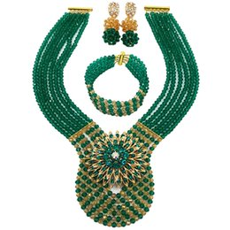Canada Sarcelle Vert Armée Vert Or AB Mariage Nigérian Perles Africaines Bijoux Ensemble Cristal Perlé Collier Ensembles 6WDK02 supplier green beads necklace for nigerian wedding Offre