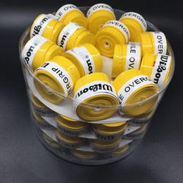 2019 headbags de exercícios grossistas 60 pecs Frete grátis (Amarelo) Sticky Pro Overgrip aderência de tênis perfurado Badminton Grip, overgrips de tênis