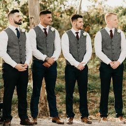 Cinza do noivo coletes de lã espinha de peixe tweed groomsmen colete slim fit homens traje terno colete de festa de casamento prom colete de