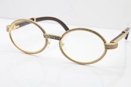 b6b7dad06d537 2019 Wholesale New Wood Full Frame Diamond Eyeglasses Hot 7550178 Sunglasses  Round Vintage Unisex SunGlasses designer 18K Gold glasses Lens