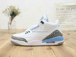 b6f678a886a4 2019 Hot Sale Jumpman III 3 White North Carolina Blue AAA Leather Basketball  Shoes Mens Trainers Fashion Designer Sneakers EUR 40-47