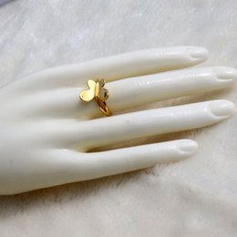 Freiheitszauber online-24 k Feste Feine Gelbe gold GF Luxus Schmetterling Charme ring freiheit Öffnen Mode Gold Frauen Mädchen Schmuck Geschenk hübsch