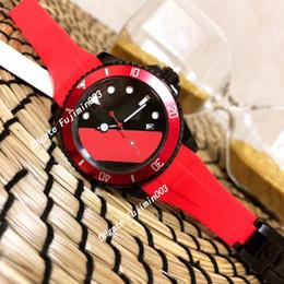 cinturino in silicone Sconti Automatico scivolata liscia lancetta dell'orologio dell'orologio di seconda mano cinturino in caucciù nero lunetta in ceramica rossa 12800 orologi da mare