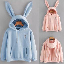 Chica encantadora con capucha online-Womens Rabbit Ear Girl Sudaderas con capucha de manga larga Sudadera Otoño Invierno Capa con capucha Mujer encantadora Conejito Hoodies