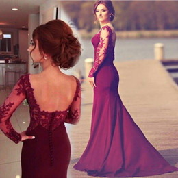 junior brautjungfer kleider hellrosa chiffon Rabatt Burgund Top Lace Langarm backless Mermaid Günstige Long plus Size Brautjungfernkleider Bilder Südafrika 2019 New Sexy Trauzeugin Kleid
