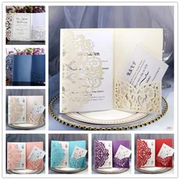 Convites para festa on-line-Glittery Cartões de Convite De Casamento Kits Primavera Flor de Corte A Laser de Bolso Cartão Do Convite De Noiva Para O Aniversário de Graduação de Noivado Convites