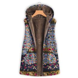 2019 blumenkapuzenweste Plus Size Lady Verdicken Weste Mantel Vintage Floral Mit Kapuze Outwear Mäntel Veste Fashion Printed Mäntel Weste Plus Größe 5xl günstig blumenkapuzenweste