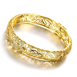 24 Karat Gold Farbe Armreifen für Frauen Roségold Armbänder Hochzeit Brautschmuck Joias Ouro Fabrik PrVintage Z025-A von Fabrikanten