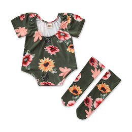 vestiti lunghi di calzini Sconti Ins 2019 new Summer Baby Suit neonato ragazza vestiti infantili Outfit Girl Suit baby girl abiti firmati pagliaccetto + calze lunghe A5297