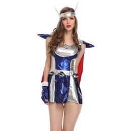 Costumi di dio online-Halloween Hero Cosplay Costumes Sexy Masquerade Woman Thor God of Thunder Giochi di ruolo Disfraces