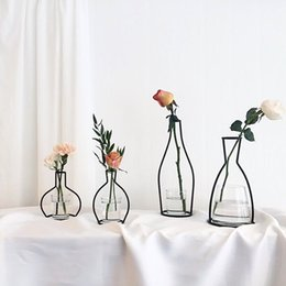 bouquet vase Promo Codes - 10styles INS Flower Vase Pot Metal Ornament Flower Bouquet Holder Display Stand Plant Flower Drying Rack DIY party Home table Decor FFA1980