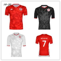 2019 pullover di calcio personalizzato Maglie calcio 19 20 Tunisia nazionale 7 Msakni 10 Khazri 23 Sliti Wahbi Khaoui FAKHREDDINE BEN YOUSSE HAMZA maglia da calcio rossa personalizzata pullover di calcio personalizzato economici
