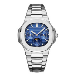 2019 relógios de ouro para homens 2019 Novo Top Nautilus Sports Watch Homens Automático Monement Relógios Rose Gold Silver Case inoxidável mens relógios de pulso mecânicos 3 Dial trabalho relógios de ouro para homens barato