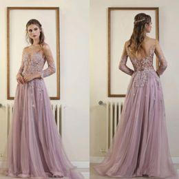 2019 elie saab vestido de renda lilás Elie Saab Vintage Lilac Vestidos de Baile Vestidos de Noite Sweep Trem Vestido de Renda Sem Encosto Apliques de Contas Vestidos de Festa Barato vestidos de fiesta elie saab vestido de renda lilás barato