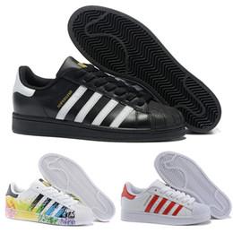 Adidas 2018 Hot Günstige Superstar 80 S Männer Frauen Casual Basketball Schuhe Skate Schuhe Regenbogen splash tinte Mode Sportschuhe größe 36 44