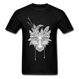 Argentina Descuento 2018 O - Cuello de Algodón Hombres Top Camisetas Tribu Boho Wolf Tótem Indio Imagen de Imagen Tops Sudadera de Alta Calidad de Manga Corta Suministro