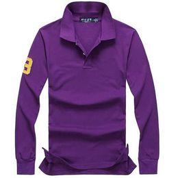 Polo langarm online-2019 polo shirt solide männer luxus polo shirts langarm männer grundlegende top baumwolle polos für jungen marke designer polo homme fc04