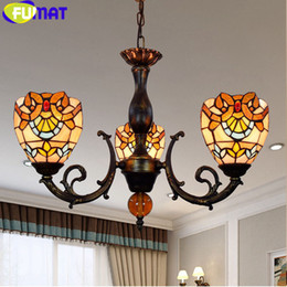 FUMAT Butterfly Chandelier With grape shade Lights Stained