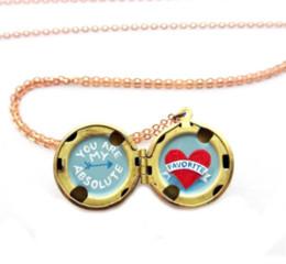 Medallones de latón online-12pcs / lot Tiny Locket collar You Are My Favorite Brass locket jewelry