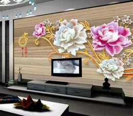 Sculptures sur bois en Ligne-Détail personnalisé 3D Jade Sculptures Et Pivoine Chinois Bois Grain Fond Mur Décoration Murales