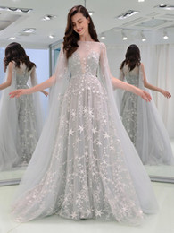 Великолепная Gradient A-Line Кнопка Кружева Off-плечу Длинные платья вечера партии vestidos де фиеста Largos elegantes де гала от