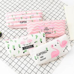 Tecido kawaii on-line-Bonito Kawaii Flamingo Cactus PU Lápis Caso Grande Tecido Zíper Saco Lápis Para Material de Estudante de Presente
