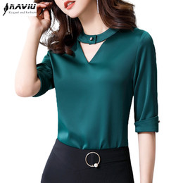 5aae613dbff Chiffon shirt women 2019 Summer New fashion clothes temperament slim V Neck  half sleeve blouses office lady loose business tops ladies business shirts  ...