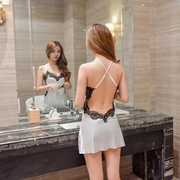 2019 mujer sexy vestido de seda satinada Camisones de las mujeres de encaje sexy ropa de dormir de satén camisón ropa para el hogar sexy sin respaldo salón de dormir vestido de noche ropa de dormir de seda s703 mujer sexy vestido de seda satinada baratos