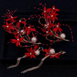 2019 accessoire de cheveux rouge de mariage chinois Style chinois boucles d'oreilles bande de cheveux rouge gland filles fleur Accessoires de cheveux mariée mariage simulé perle ensembles de bijoux de mariage X promotion accessoire de cheveux rouge de mariage chinois