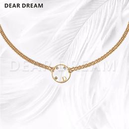 ожерелье дизайн письма Скидка Jewelry Necklace Fashion Letters Circle Pendant Double Necklace  Design For Women Girl Gift Wedding Party