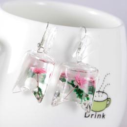 Originalität Transparent Candy Ocean Conch Ohrringe Frau Persönlichkeit Harz Trockenblumen Eardrop Ohrringe Strandurlaub von Fabrikanten
