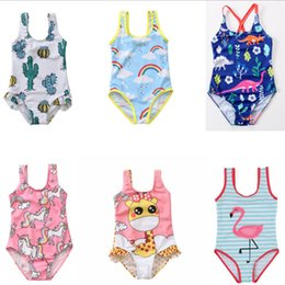 854fd5257c951 Kids rainbow unicorn swimsuits girls cartoon dinosaur flamingos printed  siamese swimming children stripe SPA beach swimwear F6519