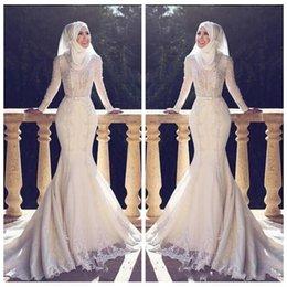 vestido muçulmano fishtail Desconto Muçulmano Slim Fishtail Estilo Árabe Da Sereia Vestidos de Casamento Mangas Compridas Lace Applique O Pescoço Hijab Sereia Longos Vestidos de Noiva