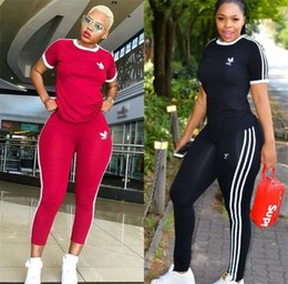 wholesale gym suits Promo Codes - S-XL Brand Women AD Letter 2 Piece Suit Summer Designer Striped Tracksuit Short Sleeve T shirts Pants Leisure Outfit Gym Loungewear A52704