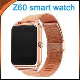apfel app fernbedienung Rabatt Bluetooth Smart Watch Z60 Uhren Metallband Unterstützung SIM TF-Karte Freisprechkamera