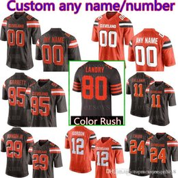 6c88133d7551 Men s Cleveland Custom Browns Jersey 95 Myles Garrett 24 Nick Chubb 19  Bernie Kosar 32 Jim Brown 85 David Njoku 29 Duke Johnson Jr 44 K duke  football ...