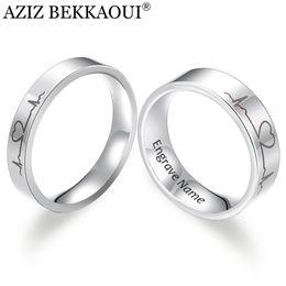 2019 медицинские символы Азиз BEKKAOUI выгравировать имя пара кольца из нержавеющей стали комфорт Fit кольцо лазерной гравировкой сердцебиение медицинский символ обручальное кольцо скидка медицинские символы